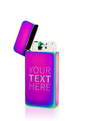 TESLA Lighter T10 Lichtbogen Feuerzeug Elektronisch, mit Wunsch-Gravur, personalisiert, Geschenk zu Weihnachten, Geburtstag etc. wiederaufladbar per USB inkl. Geschenkverpackung Regenbogen