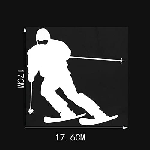 PAOPD Paquete de Pegatinas de Coche de 17,6 × 17 CM calcomanías Impermeables de Esquiador de Dibujos Animados para Coche, Motocicleta, portátil, monopatín, Pegatinas de Parachoques