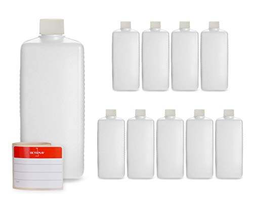 Octopus 10x 500 ml Kunststoffflaschen, HDPE Plastikflaschen mit weißen Schraubverschlüssen, Leerflaschen mit weißen Schraubdeckeln, Vierkantflaschen inkl. Beschriftungsetiketten