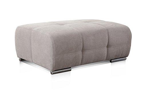CAVADORE Polsterhocker Mistrel mit Steppung / Sofa-Hocker im modernen Design / Passend zur Polsterserie Mistrel / 109 x 42 x 73 / Kati Grau-Weiss