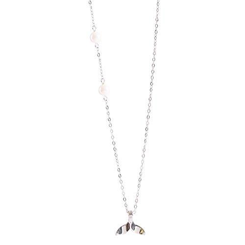 925 Sterling Silber Perle Fischschwanz Halskette weiblich, leichte Luxus außerirdische High Sense Nische einfache Schlüsselbein Kette, Kettenlänge: 38,5 + 7,3
