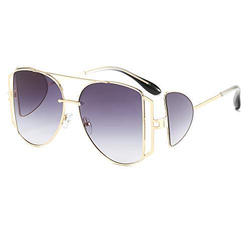WDTYYJ Neue Persönlichkeit Sonnenbrille Metall Männer und Frauen Multi-Lens große Rahmen Winddichte Sonnenbrille 1