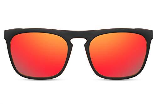 Cheapass Gafas de Sol Estilo Deportivo para Hombre Real Montura Negra Mate con Efecto Naranja y Cristales Rojos Espejados Protección UV400