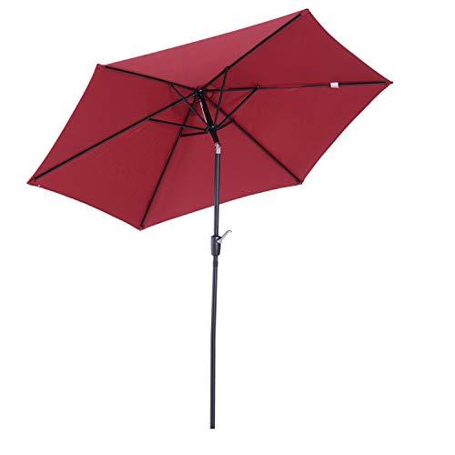 Outsunny Parasol inclinable de Jardin Balcon terrasse manivelle Toile...