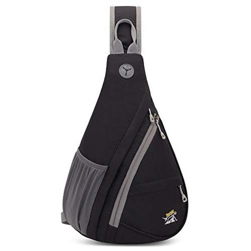RedsGirl Outdoor Waterproof Sling Backpack - Crossbody Shoulder Chest Bag Hiking Daypacks, Black