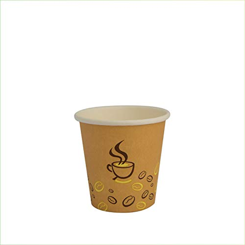 Palucart 100 Bicchieri in Carta per Caffe 90ml Colore Avana Grafica tazzina e Chicco caffè (3 oz) biodegradabili cartoncino