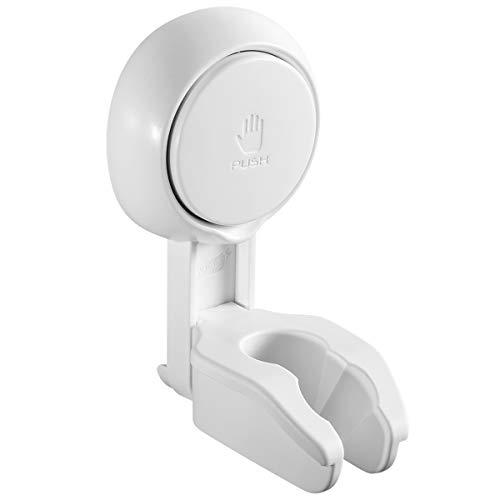 LEVERLOC Shower Head Holder Suction Cup NO-Drilling Removable Bathroom ShowerHeadHolderWallMount Water Proof & Moisture Proof Adjustable ShowerHeadSupport Bracket Plastic