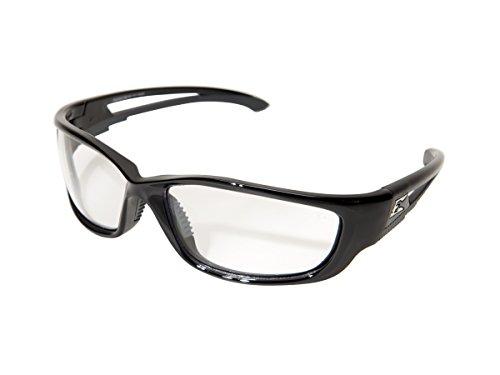 Edge SK-XL111 Kazbek XL Wrap-Around Safety Glasses, Anti-Scratch, Non-Slip, UV 400, Military Grade, ANSI/ISEA & MCEPS Compliant, XL Wide Fit, Black Frame/Clear Lens