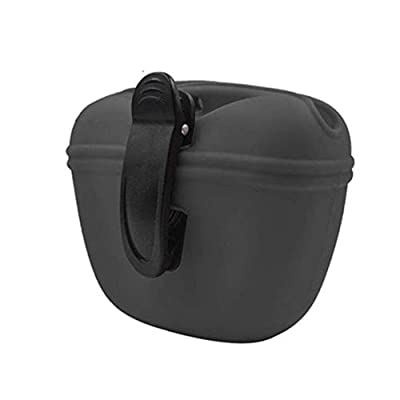 RoyalCare Dog Treat Pouch, Silicone Dog Training Bag Portable Dog Treat Bag with Magnetic, Auto Closing and Waist Clip (dark gray)