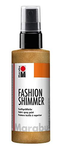 Marabu 17180050583 - Fashion Shimmer gold 100 ml, Textilsprühfarbe auf Wasserbasis, für dunkle Textilien und Stoffe, einfache Fixierung, waschbeständig bis 40°C, geeignet zum Schablonieren