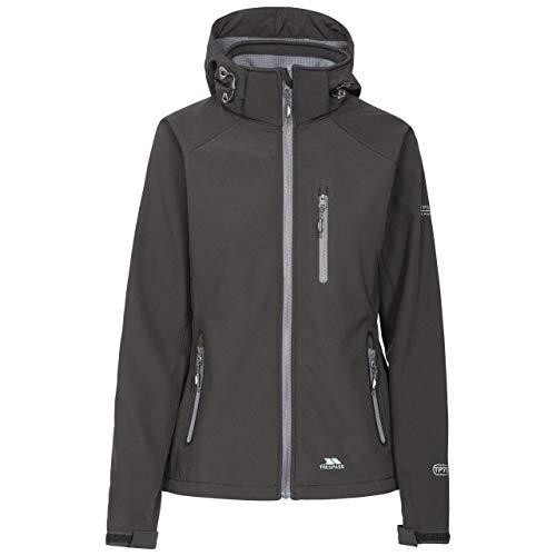 Trespass Bela II, Black, XL, Wasserdichte Softshelljacke mit abnehmbarer Kapuze für Damen, X-Large, Schwarz