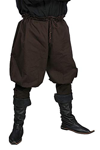 JapanAttitude Pantalon Marron avec laçages, médiéval Pirate Viking GN - XS/S