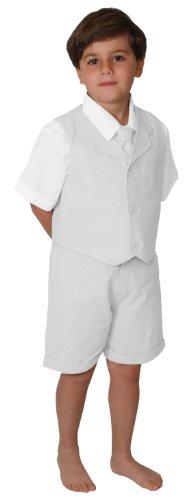 Gino Giovanni G266 Short Set Cotton/Linen Blend Summer Baby/Toddler (5, White)