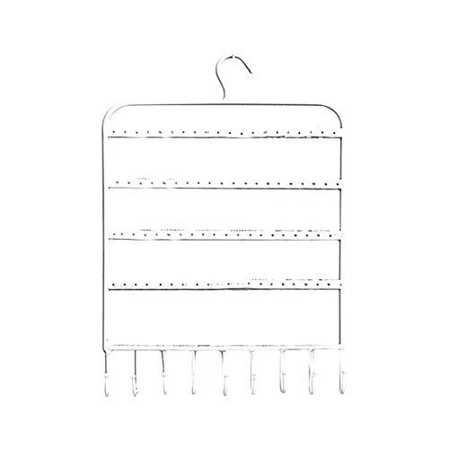 Toruiwa - Expositor de joyas para almacenamiento de pendientes, con gancho de metal para guardar pulseras, collares, pendientes, 21 x 31 cm, color blanco
