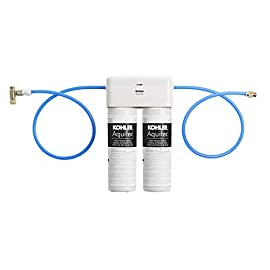 Kohler 77686-na aquifer double cartridge water filtration system 1 reduces 99% lead, chlorine taste & odor, chloramine, particulate class i, asbestos, cyst, mercury, turbidity, and select pharmaceuticals for use with any kitchen, bathroom, or beverage faucet double cartridge system retains your faucet's water flow rate with no performance drop-off