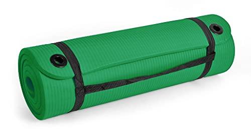 SMJ Sport - Tappetino da fitness con tracolla e occhielli, antiscivolo, morbido tappetino da yoga e ginnastica, protezione per le articolazioni, spesso, verde, 183 x 61 x 2 cm