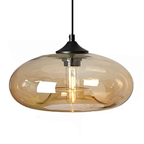 HJXDtech Nueva pantalla de cristal colorida Candelabro Loft colgante de luz Lámpara de techo retro (Ámbar)