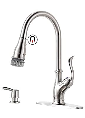 APPASO Single Handle Pull Down Kitchen Faucet with Magnetic Docking Sprayer Brushed Nickel - High Arc One Hole Pull Out Kitchen Sink Faucet with Soap Dispenser, 170BN