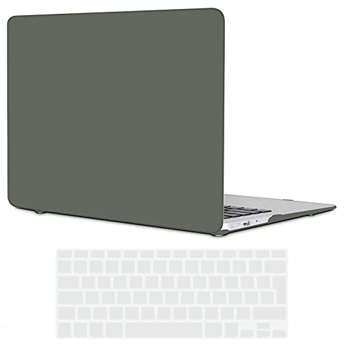 TECOOL MacBook Air 13 Hülle 2010-2017 (Modell:A1466 / A1369), Slim Plastik Hartschale Schale Cover Zubehör mit EU Transparente Tastaturschutz Schutzhülle für MacBook Air 13.3 Zoll - Nachtgrün