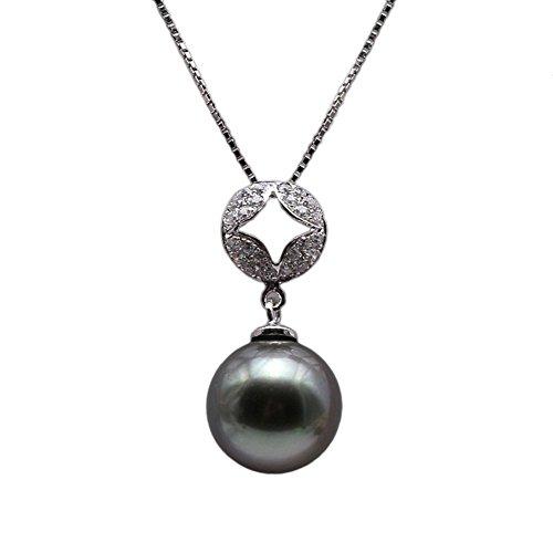 JYX AAA Echte Tahiti Perle Kette Damen Tahiti 9.0-10.0mm Schwarz Tahiti-zuchtperle Anhänger in 925 Sterling Silber 45 cm