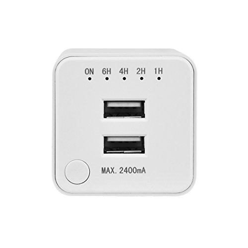 Link2Home Dual USB Port Cell Phone Wall Charger Energy Saving Outlet with Timer, 0-6 Hours