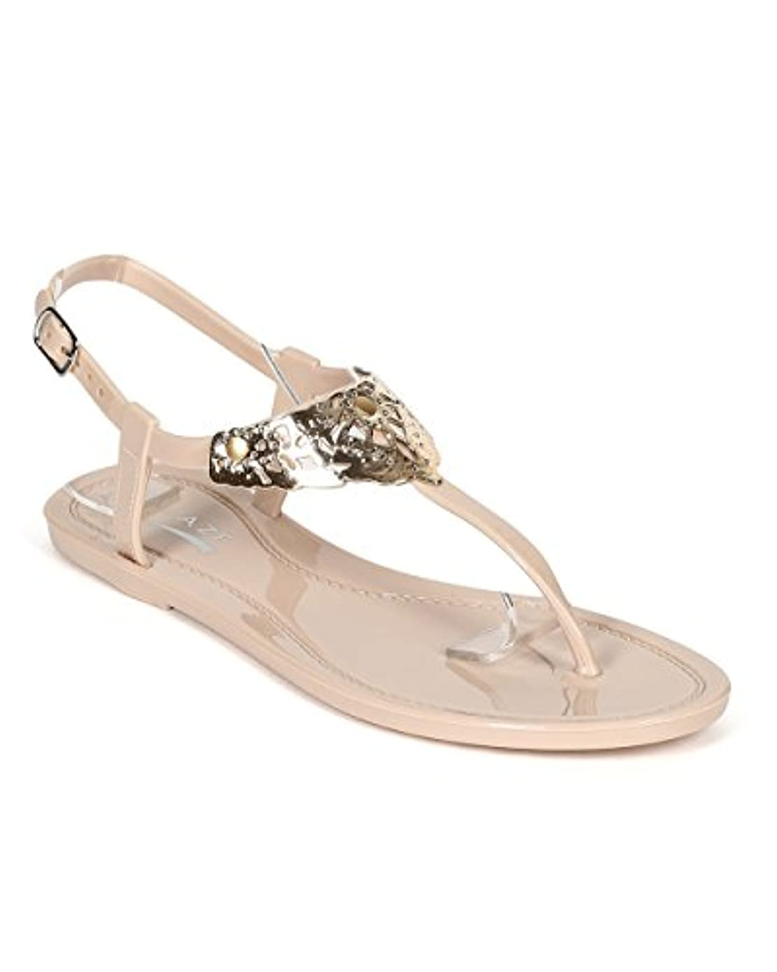Glaze Women Jelly Gold Stencil Cut Broach T-Strap Slingabck Sandal CD87 - Nude