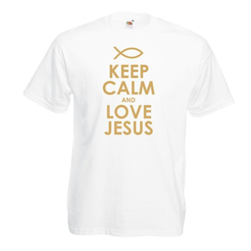 lepni.me Camisetas Hombre Amo a Jesucristo, Religión Cristiana - Pascua, Resurrección, Natividad, Ideas de Regalo Religioso (XXX-Large Blanco Oro)