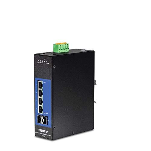 TRENDnet, 6-Port Industrial Gigabit L2 Managed DIN-Rail Switch, 4 X Gigabit Ports, 2 X SFP Slots, DIN-Rail Mount, IP30, Vlan, Qos, Lacp, STP/Rstp, Bandwidth Management, Lifetime Protection, TI-G642i