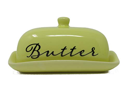 Porcelaine Butter Dish With Lid For East West Butter Great For Kitchen Storage & Decor or Gift Idea by Ashes To Beauty (Pastel Yellow)