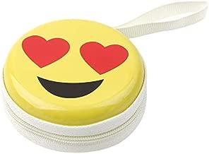 Humble Love Emoji Multi Purpose Cute Tin Plate Case for Earphones, Pen Drives, SD Memory Cards, Keys, Coins Metallic, 7 cm (Small)
