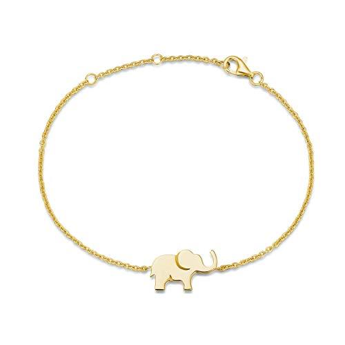Elefante Bracciale in Argento Sterling 925 Placcato Oro Gioielli per Donna Ragazze Bambini - Regolabile Catena Lunghezza: 15 + 3 cm