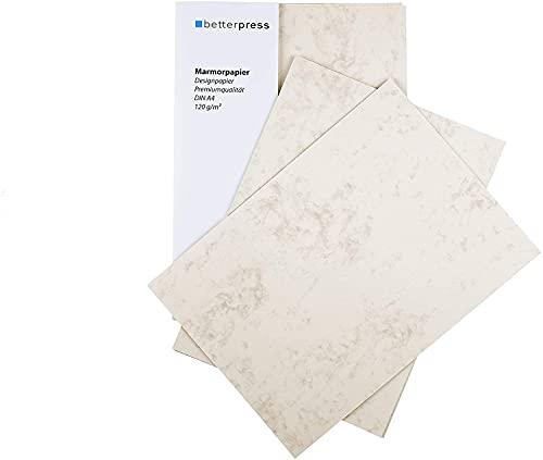 Betterpress® 100 Blatt Marmorpapier chamois 120g, A4 – Beidseitig Marmoriertes Papier in hochwertiger Qualität – Premium Briefpapier ideal als Speisekarte, Zertifikat und Urkunde