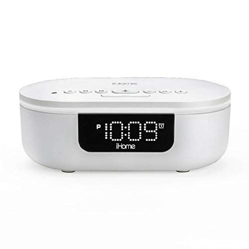 iHome Health POWERUVC PRO - Clinically Proven 360° UV-C Sanitizer | Bluetooth Speaker with Alarm Clock, Auto Dimmer and Dual USB Charging (Model iUVBT1W)