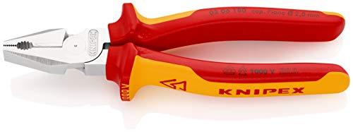 KNIPEX 02 06 180 Pinza universale tipo 'forte' cromata isolati con manici rivestiti in materiale bicomponente, collaudati VDE 180 mm