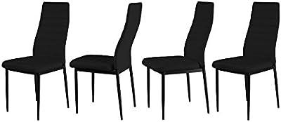 FOB Import Lot de 4 chaises Pulp Noires, Faux Cuir, 40x56x97 cm