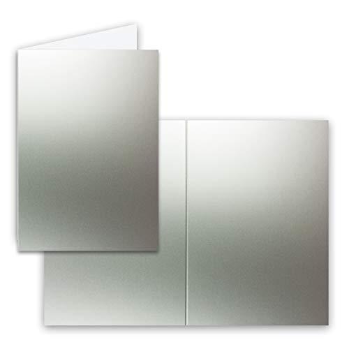 Neuser Lot de cartes pliables au format B6 : 11,5 x 17 cm Compatible imprimantes Argenté métallique - 50 Doppelkarten Silber