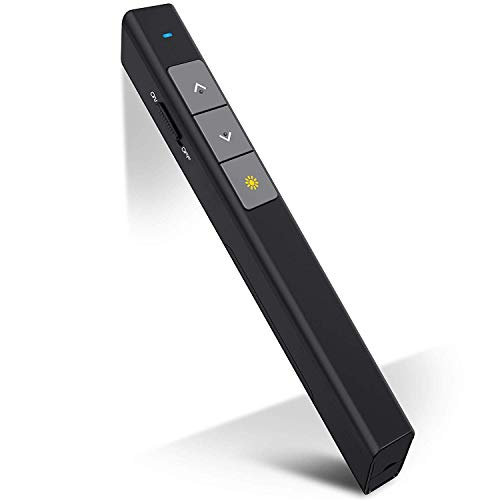 professional DinoFire Presentation Clicker 100FT Wireless Presenter Remote PowerPoint Clicker Presentation Remote, RF 2.4 GHz USB PPT Clicker Presentation Pointer (for Mac, Keynote, Laptop, Computer, Google Slides)
