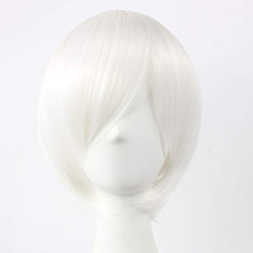 HOOLAZA Silver White Short Straight Wig Ichimaru Gin Hohzuki Suigetsu Kijin No Sairai Hohzuki Mangetsu Sarutobi Sasuke Nagisa Kaworu Kiryu Zero for the Halloween Party Cosplay Wigs