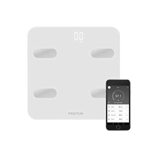 PRIXTON BC300 - Bascula de Baño Inteligente de Grasa Corporal con 4 Sensores de Alta Precision y 13 Funciones, Bluetooth, APP Compatible para 9 Usuarios, Unidad de peso KG/LB