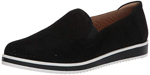 Naturalizer Women's Bonnie Slip-Ons Loafer, Black Suede, 5 M (B)
