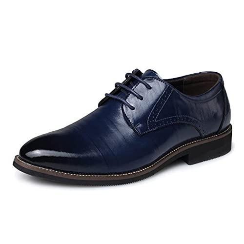 MNVOA Scarpe Uomo Pelle, Derby Stringate Basse Elegante Sera Oxford Vintage Verniciata Marrone Blu Nero 38-48EU,Blu,48EU