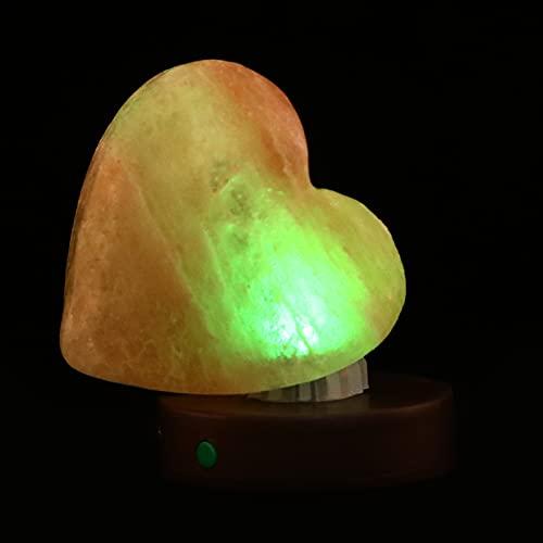 UKCOCO Lámpara de Sal Forma de Corazón Luz de Noche Hecha a Mano Base de Madera para El Día de Las Madres Adultos Niños Marrón Claro
