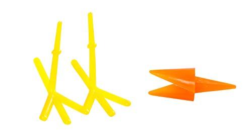 Hühnerschnabel und Füße, L: 30+37 mm, H: 28 mm, gelb, orange, 8 Sets