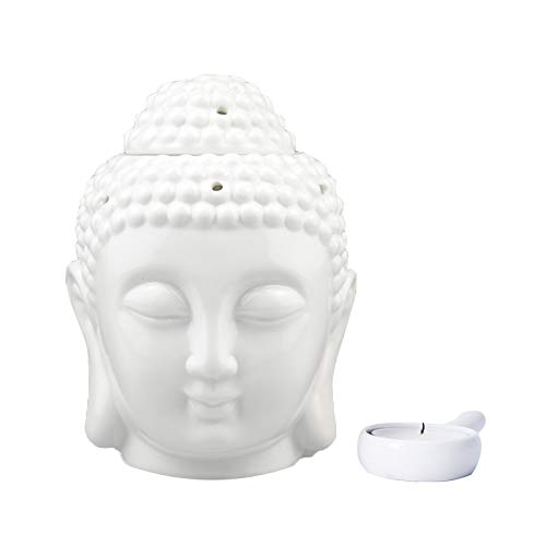 Peaceful Buddha Head Candle Ceramic Air Fresher Aromatherapy Furnace Essential Oil Burner-Candle Aroma Lamp(White)