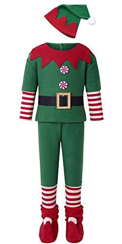 Gotbuop Kids Holiday Elf Costumes Christmas Funny Boy and Grils Cosplay Party Dress Up (Boy, 12-13Years)