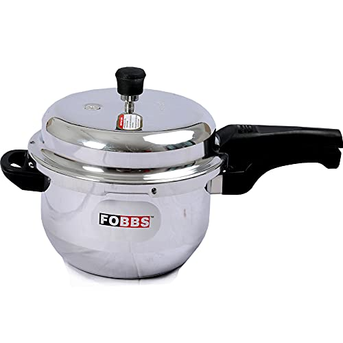 FOBBS 3.5 Liter Aluminum Pressure Cooker Induction Base & LPG Compatible Outer Lid, ISI Certified Made in INDIA (Silver)