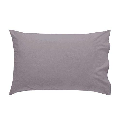 Just Contempo JC - Confezione da 2 federe per cuscino, in tinta unita, non stirabili, facili da pulire, colore: grigio, poliestere-cotone