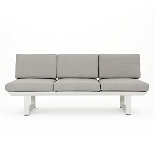 Christopher Knight Home Bonnie Outdoor White Finish Rust-Proof Aluminum 3 Seater Sofa with Grey Water Resistant Cushions