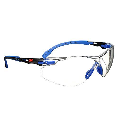 3M Safety Glasses Solus 1000 Series ANSI Z87 Scotchgard Anti-Fog Clear Lens Low Profile Blue/Black Frame