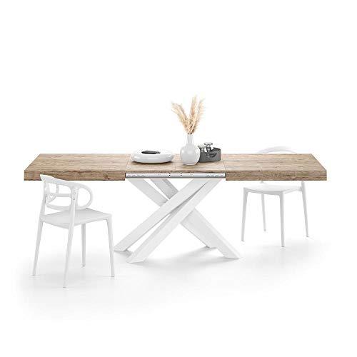 Mobili Fiver, Mesa extensible Emma, roble con patas cruzadas blancas, ennoblecida/hierro, fabricada en Italia, disponible en varios colores